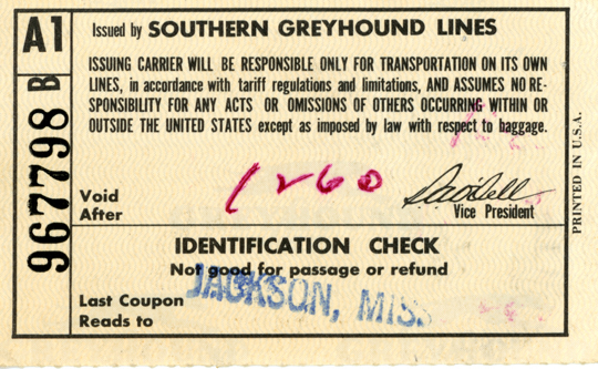 [Greyhound Bus ticket to Jackson]