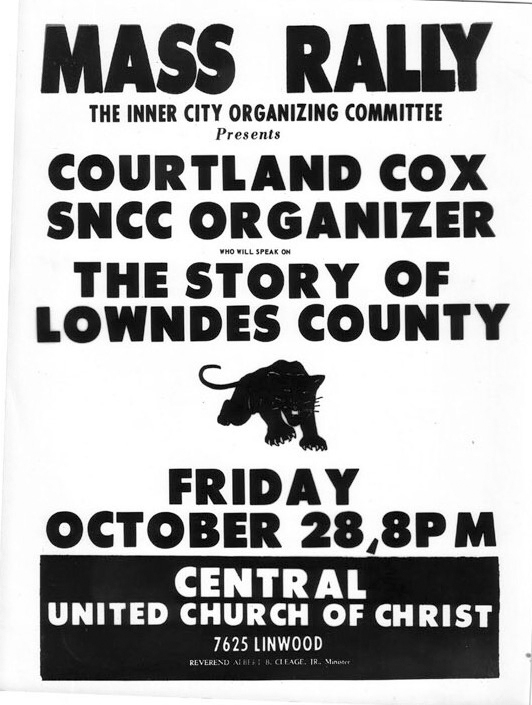 LCFO mass meeting flyer featuring Courtland Cox, October 28, 1966, crmvet.org