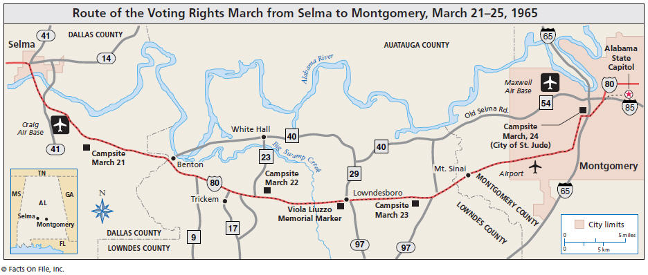 Veterans of the Civil Rights Movement March to Montgomery Map