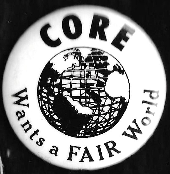 [CORE 1964 Worlds Fair protest pin]