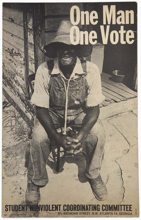 """SNCC Poster """"One Man, One Vote,"""" Black man in a straw hat sitting on a porch. Poster from GA"""